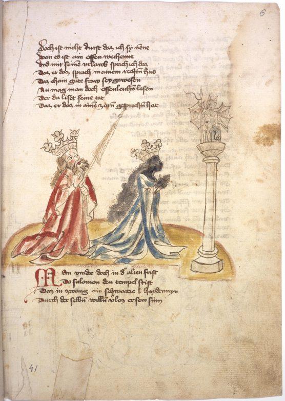 Ganze Seite: Text und kolorierte Federzeichnung (Die Königin von Saba betet zu einem Götzen, dahinter König Salomon)